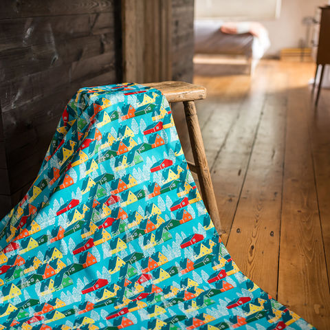 Greenland,Multicolour,Fabric,greenland, fabric, textiles, blue, multicolour, colourful, kids, scandi, designer, design, bespoke, cabin, cabins, material, trees, greenland, printed in the uk, british,