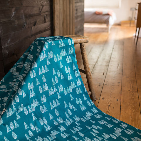 Greenland,Trees,Fabric,greenland, fabric, textiles, blue, teal, trees, kids, scandi, designer, design, bespoke, cabin, cabins, material, greenland, printed in the uk, british,
