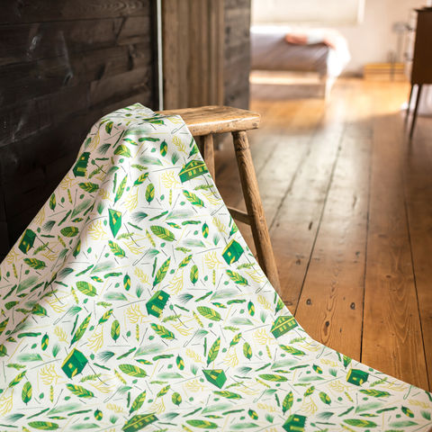 Nest,Building,Green,and,White,Fabric,white, white and green, green, fabric, textiles, upholstery, material, designer, design, nest, nest building, nests, british, soft furnishings, curtains, feathers, leaves, botanical,