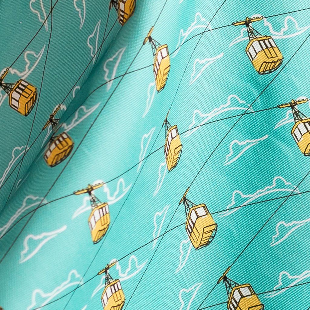 Cable Cars Blue Fabric - product images  of