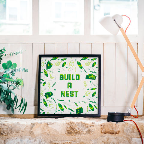 'Build,A,Nest',Green,Art,Print,art, print, art print, illustration, poster, nest, nest building, build a nest, green, green and white, feathers, leaves, cabins, cabin, aframe