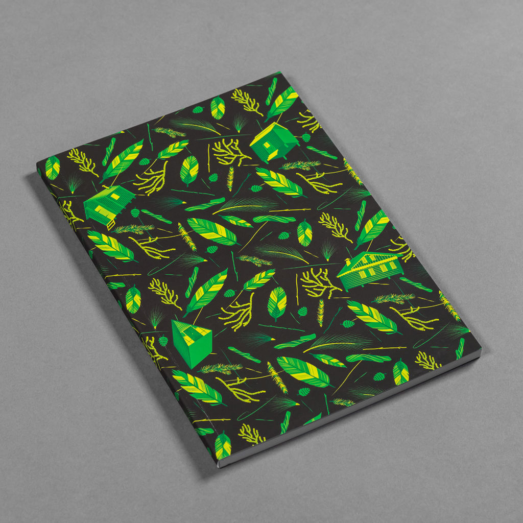 Nest Building Materials Green and Black Notebook - product images  of