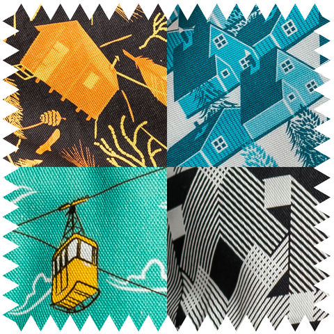 Fabric,Samples,sample, textiles, fabric, material, design, fun, playful, alpine, nordic, scandi, british, cable cars, nest building materials, greenland, geo, geometric, blue, yellow, orange, green, multicolour, nest, feathers, cabins, cabin, leaves, nature