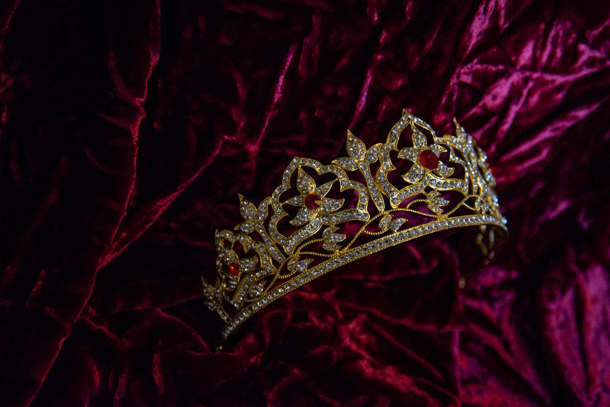 'Rosa' Gold, Clear and Red Crystal Victorian Style Tiara - product images  of