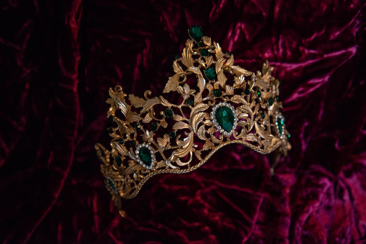 'Bernadette' Gold and Green Crystal Tiara - product image