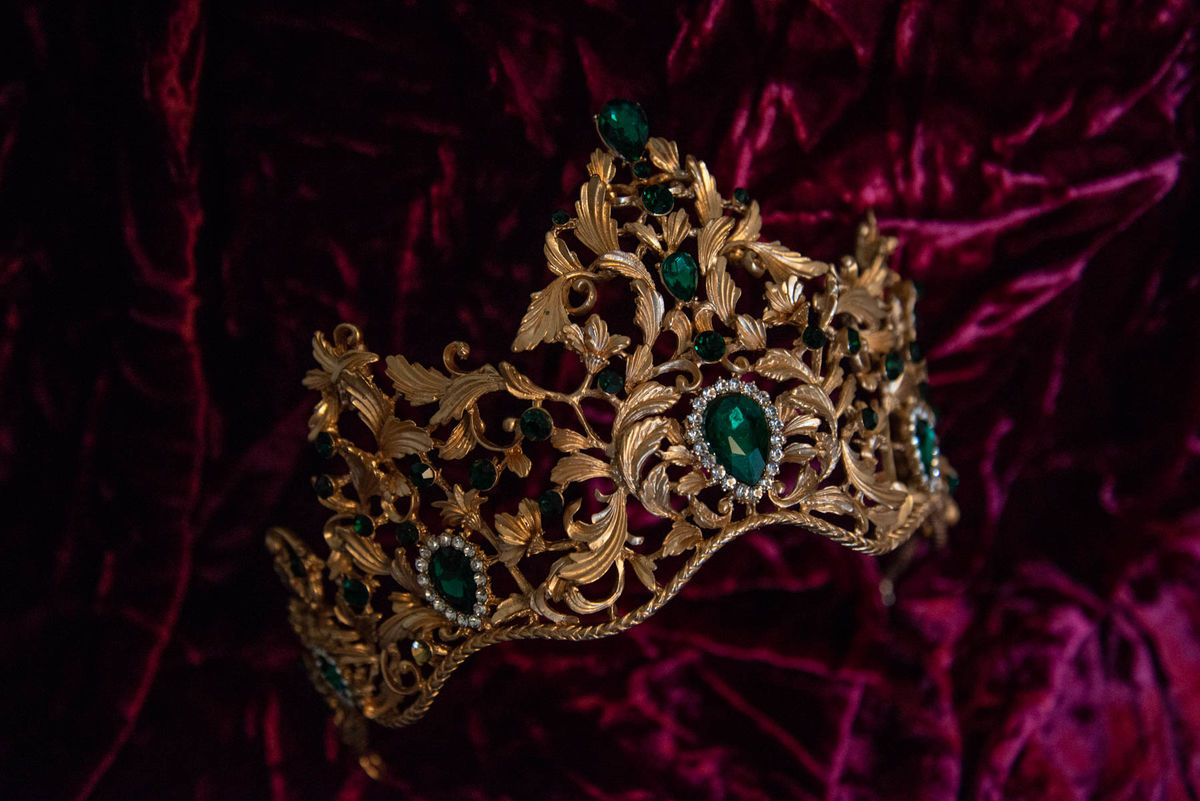 'Bernadette' Gold and Green Crystal Tiara - product images  of