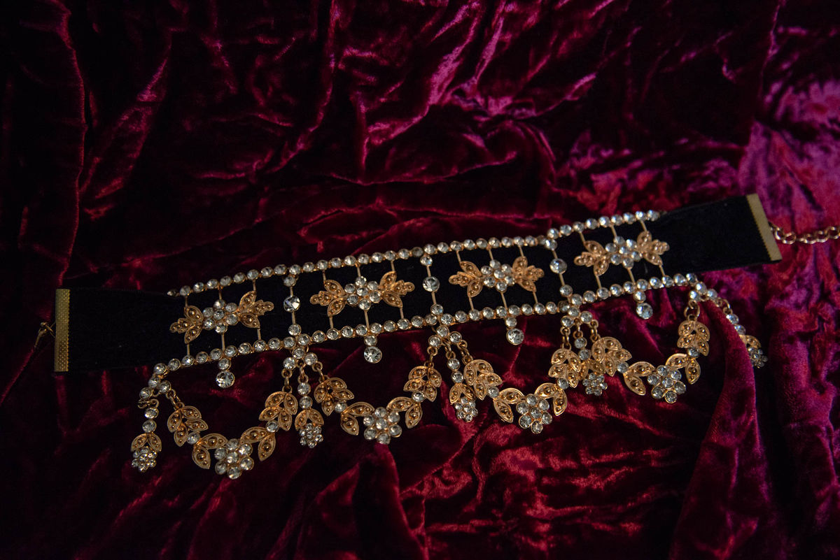'Ada' Black Velvet and Gold Crystal Choker - product images  of
