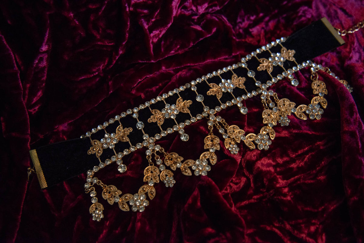 'Ada' Black Velvet and Gold Crystal Choker - product image