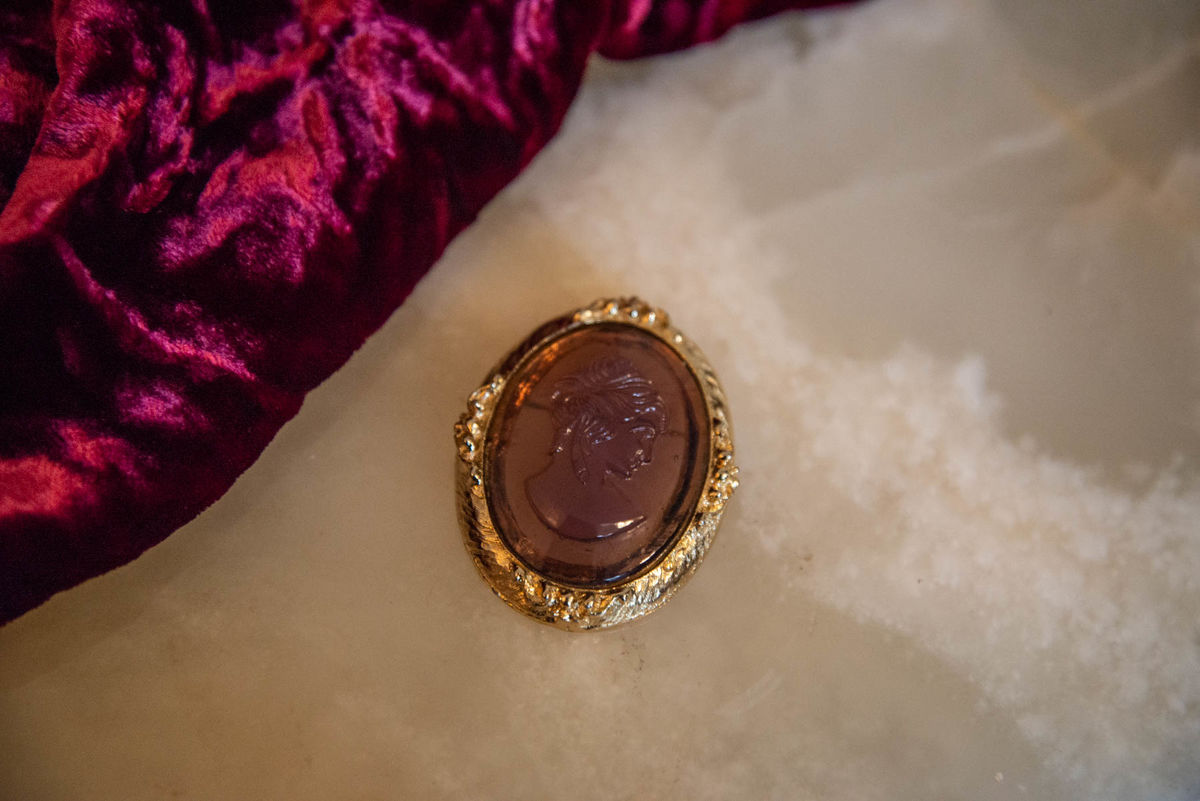 'Sophia' Gold and Purple Cameo Brooch - Vintage - product image