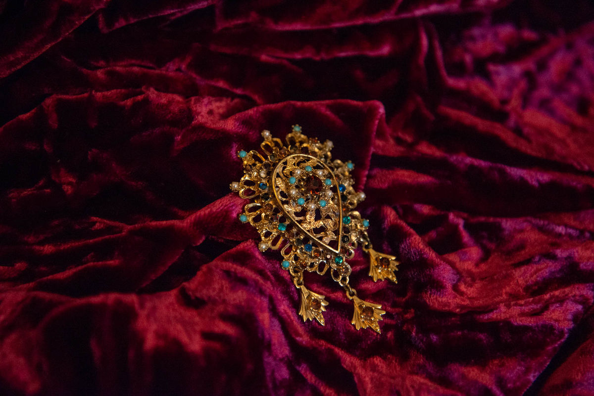 'Maude' Gold, Amber and Turquoise Glass Drop Brooch - Vintage - product images  of