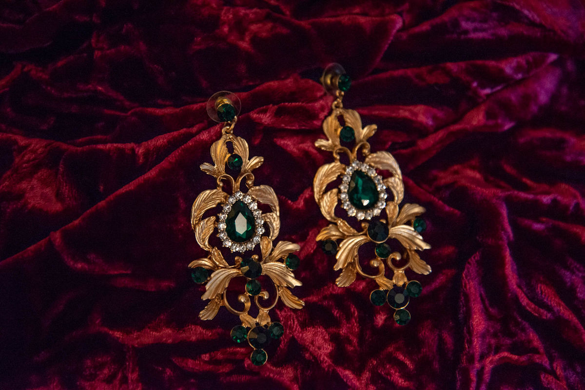 'Bernadette' Gold and Green Chandelier Earrings - product images  of