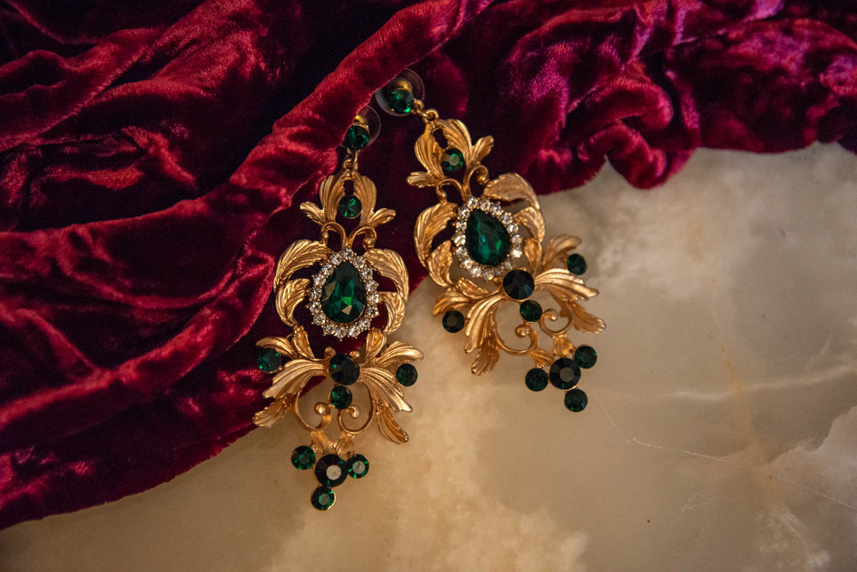 'Bernadette' Gold and Green Chandelier Earrings - product image