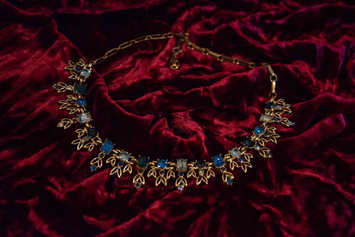 'Florence' Gold and Blue Collar Necklace - Vintage - product images  of