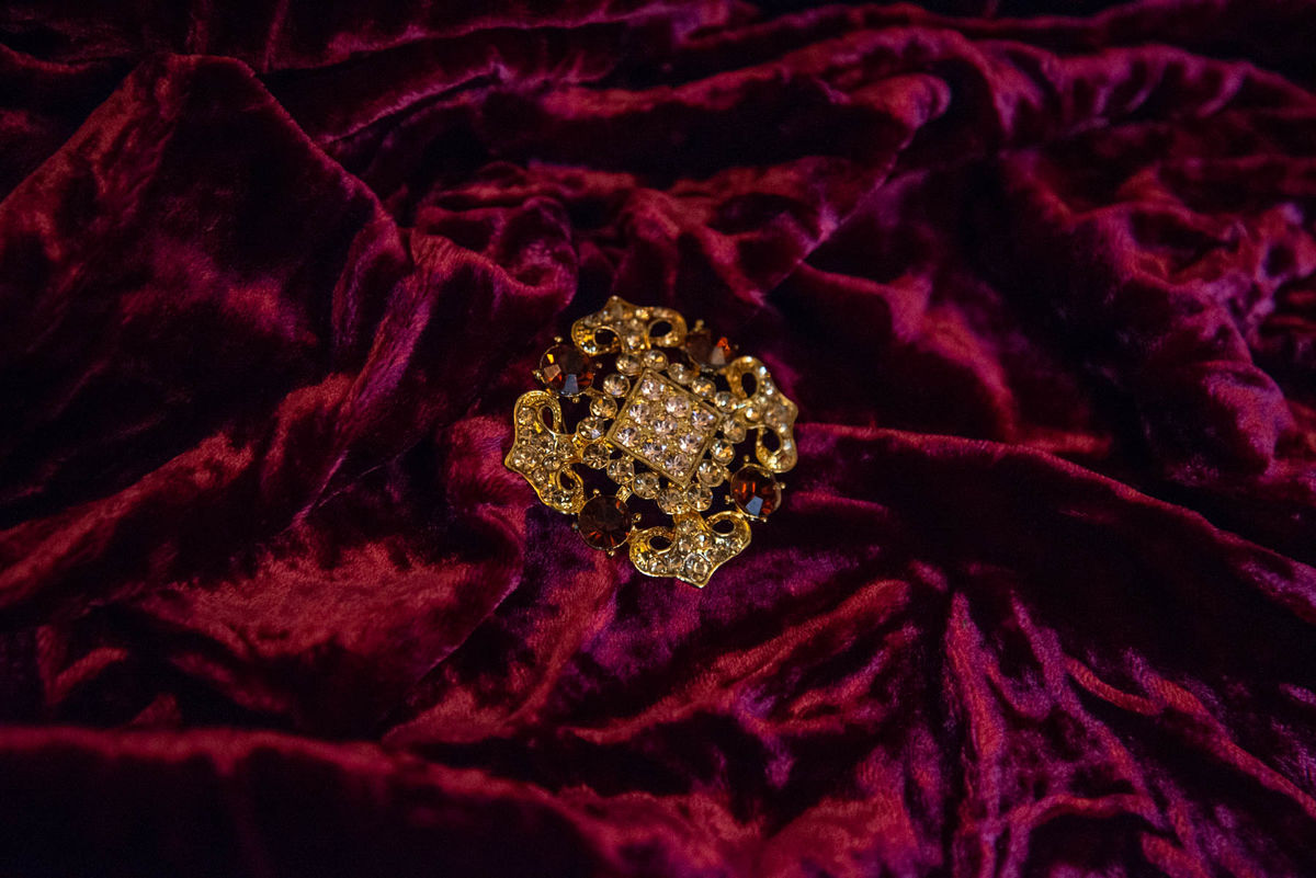 'Lisa' Gold and Amber Crystal Brooch - Vintage  - product images  of