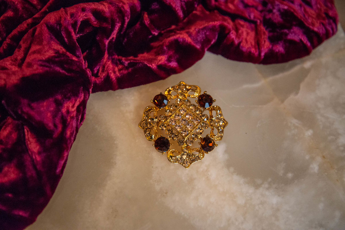 'Lisa' Gold and Amber Crystal Brooch - Vintage  - product image