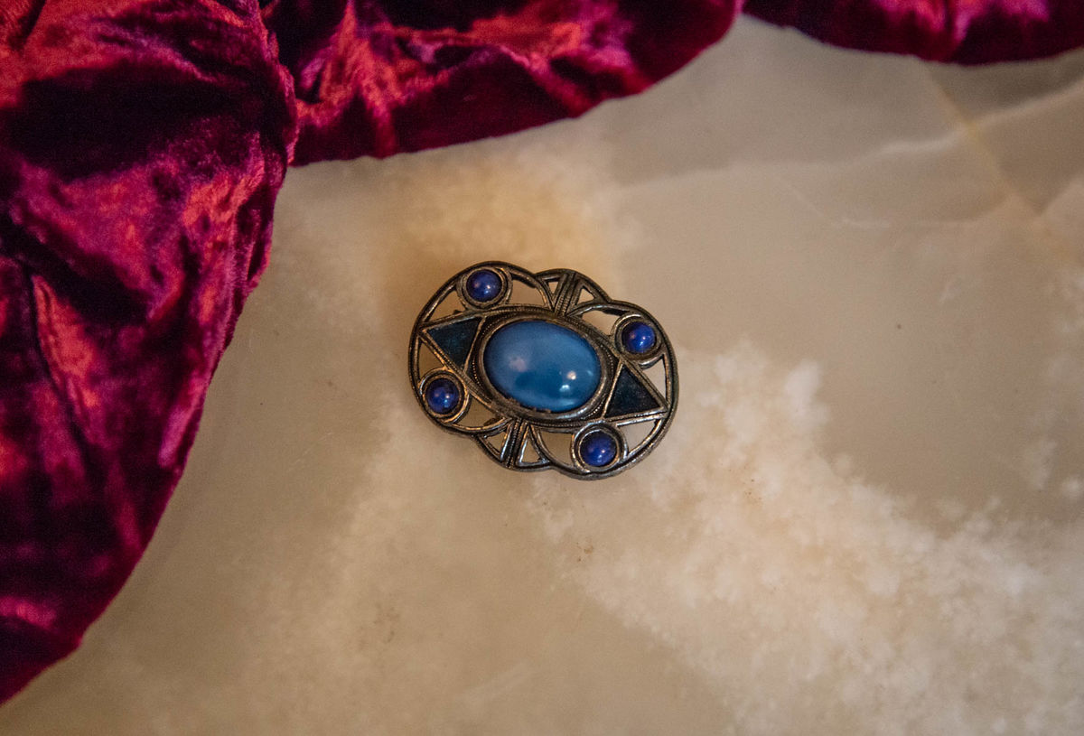 'Elsie' Pewter and Blue Glass Brooch - Vintage - product image