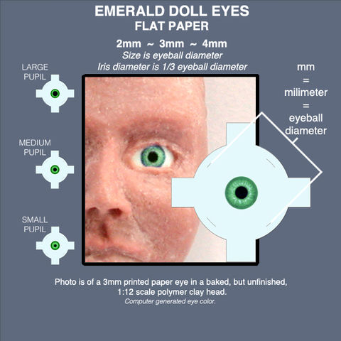 EMERALD,DOLL,EYES,sheet,of,18,pairs,paper,eyes,2mm,,3mm,,and,4mm,mini eyes for polymer clay figures, emerald fairy eyes, miniature doll eyes