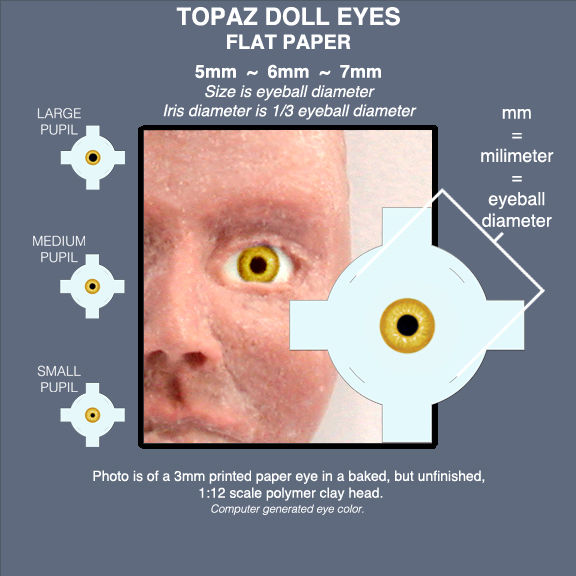 TOPAZ DOLL EYES sheet of 18 pairs flat paper eyes 5mm, 6mm, 7mm - product images  of
