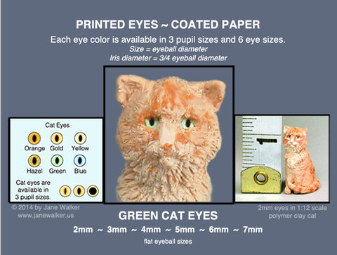 GREEN,CAT,EYES,sheet,of,18,pairs,paper,eyes,2mm,to,7mm,mini cat eyes for polymer clay figures,  eyes, miniature doll eyes, green cat eyes