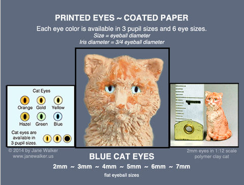 BLUE,CAT,EYES,sheet,of,18,pairs,paper,eyes,2mm,to,7mm,mini cat eyes for polymer clay figures,  eyes, miniature doll eyes, blue cat eyes