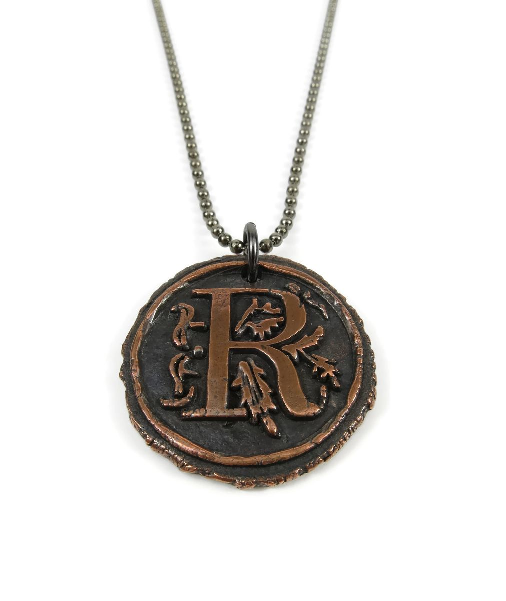 Letter r wax seal copper pendant ttereve letter r wax seal copper pendant product images mozeypictures