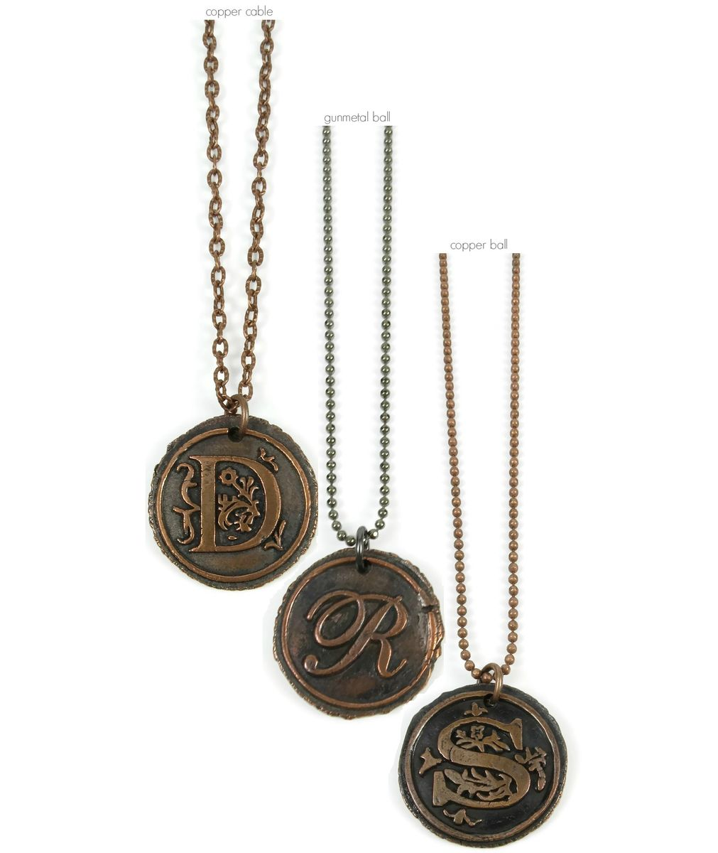 Letter r wax seal copper pendant ttereve letter r wax seal copper pendant product images of aloadofball Images