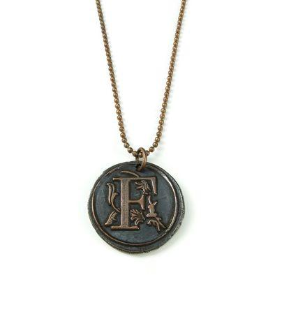 Letter i wax seal copper pendant ttereve letterfwaxsealcopperpendantttereve mozeypictures Images