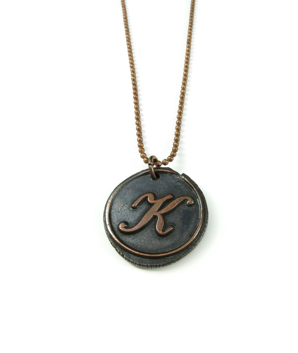 Letter k wax seal copper pendant ttereve letter k wax seal copper pendant aloadofball Gallery