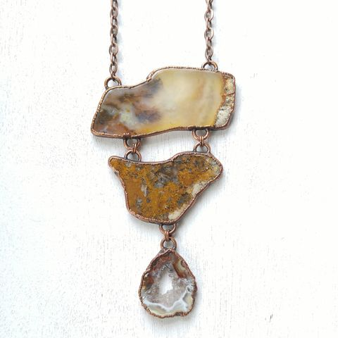Plume,Agate,Tria,Necklace,ttereve, smokey quartz necklace, aragonite crystal, electroformed necklace, electroformed crystal, collectors necklace