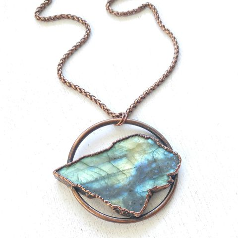 Labradorite,Orb,Necklace,ttereve, labradorite, electroformed, copper, raw, crystals