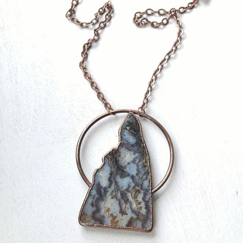 Lofia,Copper,Orb,Necklace,ttereve, agate necklace, agate slice jewelry, electroformed necklace, electroformed stone, graveyard point plume agate