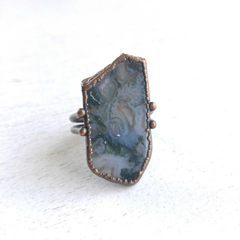 Moss,Agate,Copper,Stirrup,Ring,ttereve, moss agate, electroformed, copper, raw, crystals, ring