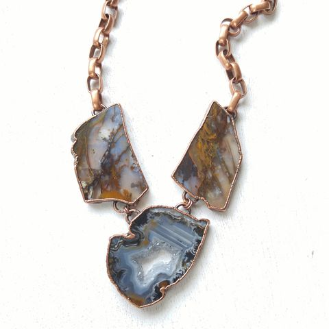Kaeida,Geode,Necklace,ttereve, agate necklace, geode necklace, electroformed necklace, electroformed crystal, collectors necklace