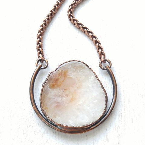 Kali,Agate,Horseshoe,Necklace,ttereve, agate necklace, agate slice jewelry, electroformed necklace, electroformed stone, oregon agate
