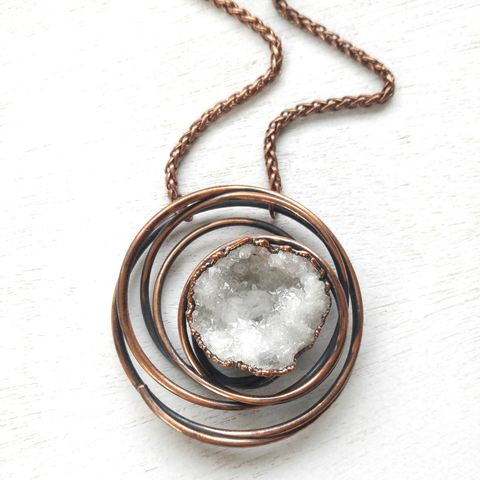 Crystal,Galaxy,Necklace,ttereve, crystal necklace, galaxy jewelry, electroformed necklace, electroformed crystal, hoop, orb