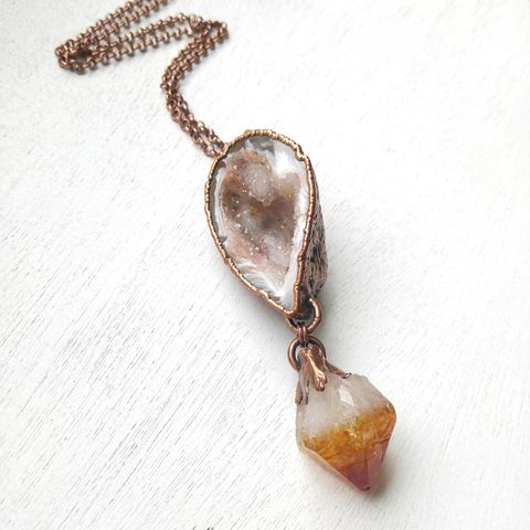 Citrine,Geode,Dyad,Necklace,ttereve, electroformed necklace, collectors necklace, geode necklace, art jewelry, contemporary necklace, citrine necklace, raw citrine, druzy necklace