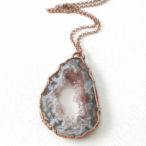 Oco,Geode,Necklace,ttereve, electroformed necklace, organic design necklace, geode necklace, druzy necklace
