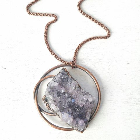 Raw,Amethyst,Orb,Necklace,ttereve, amethyst necklace, amethyst jewelry, electroformed necklace, electroformed crystal, hoop, orb