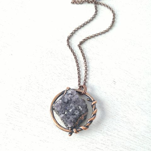 Amethyst,Lasso,Orb,Necklace,ttereve, amethyst necklace, amethyst jewelry, electroformed necklace, electroformed crystal, hoop, orb