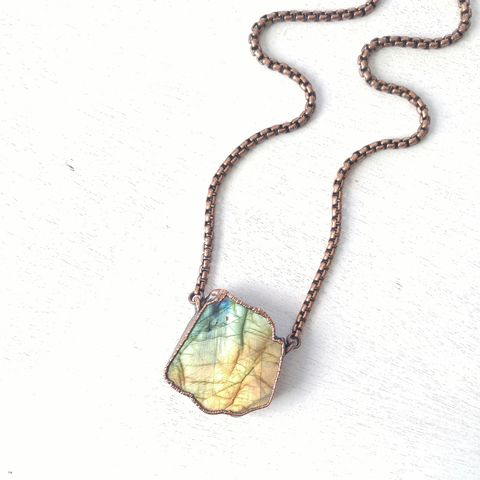 Labradorite,Specimen,Necklace,ttereve, labradorite, electroformed, copper, raw, crystals