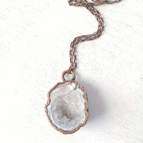 White,Geode,Necklace,ttereve, electroformed necklace, organic design necklace, geode necklace, druzy necklace, oco geode