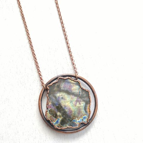 Labradorite,Orb,Necklace,Pastel,ttereve, labradorite necklace, electroformed, copper, raw, crystals,