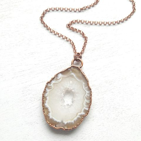 White,Oco,Geode,Necklace,ttereve, electroformed necklace, organic design necklace, geode necklace, druzy necklace