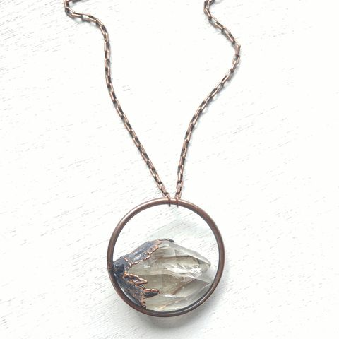Quartz,Twin,Orb,Necklace,ttereve, crystal necklace, quartz jewelry, electroformed necklace, electroformed crystal, hoop