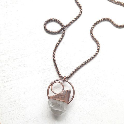 Crystal,Point,Duo,Necklace,ttereve, crystal necklace, quartz jewelry, electroformed necklace, electroformed crystal, hoop