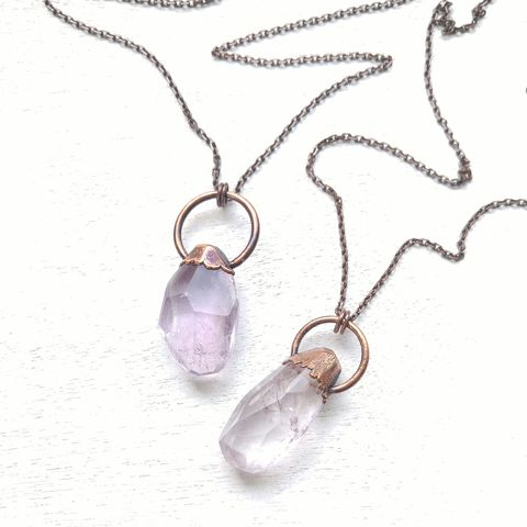 Faceted,Amethyst,Drop,Necklace,ttereve, amethyst necklace, amethyst jewelry, ttereve adornments, ttereve jewelry, electroformed