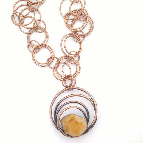 Citrine,Galaxy,Necklace,ttereve, citrine, citrine necklace, galaxy jewelry, electroformed necklace, electroformed crystal, hoop, orb