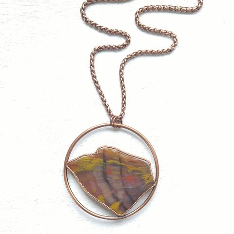 Rainbow,Wood,Orb,Necklace,ttereve, wood necklace, agate slice jewelry, electroformed necklace, electroformed stone, petrified wood