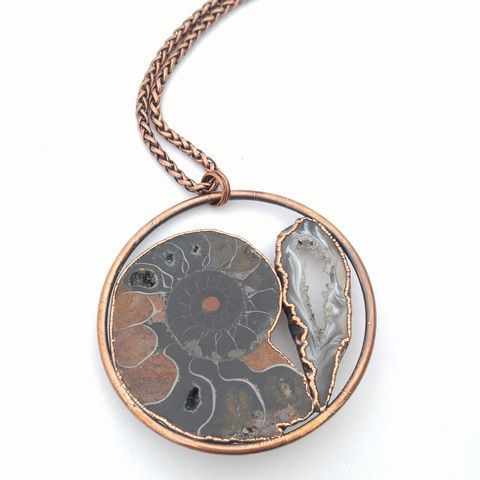 Ammonite,Fossil,Orb,Necklace,ttereve, electroformed necklace, electroformed crystal, geode necklace, fossil necklace, ammonite necklace