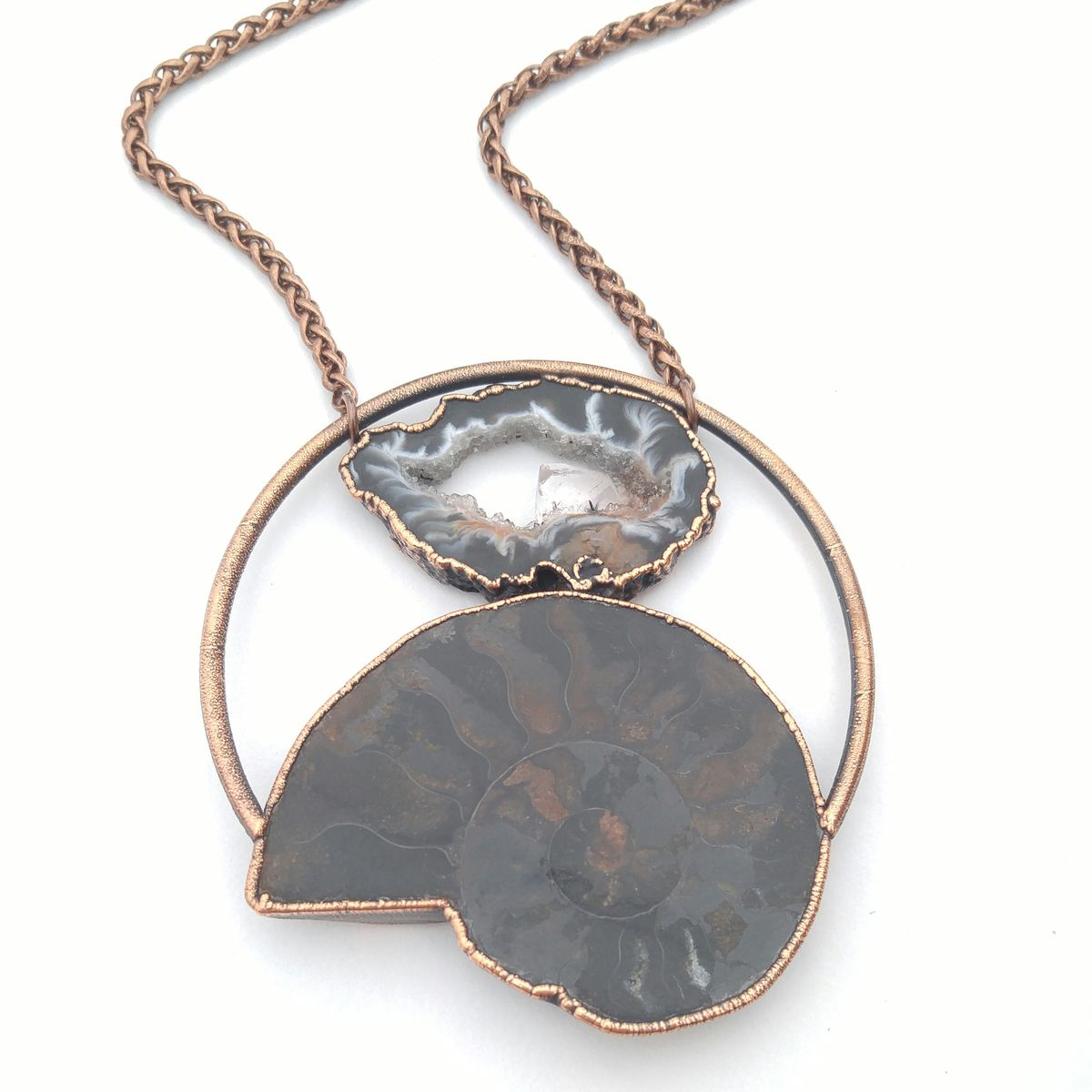 Geode Fossil Orb Necklace - product images  of